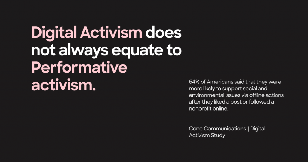 Digital Activism does not always equate to Performative Activism.   64% of Americans said that they were more likely to support social and environmental issues via offline actions after they liked a post or followed a nonprofit online. - Cone communications, digital activism study